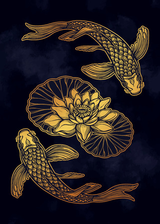 Illustration pour Hand drawn ethnic fish (Koi carp) with water lotus flowers - symbol of harmony, wisdom. Vector illustration isolated. Spiritual art for tattoo, boho, coloring books. Beautifully detailed, serene. - image libre de droit