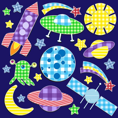 Cartoon space stickers.