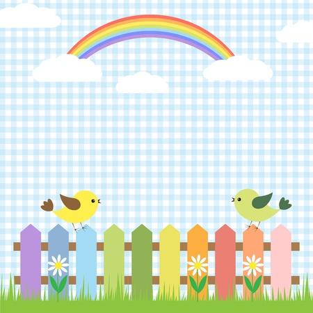 Cute birds and rainbow.card design