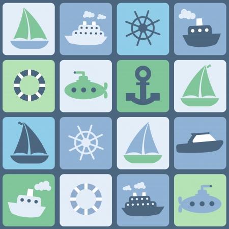 Sea transport. Seamless  in retro colors