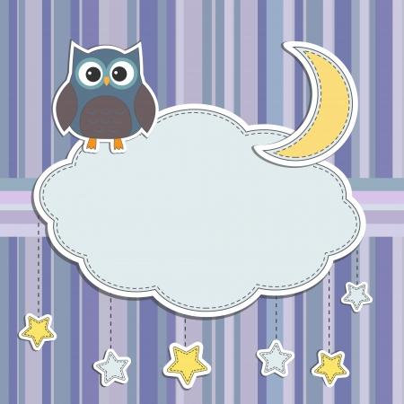 Ilustración de Frame with owl,moon and stars - Imagen libre de derechos