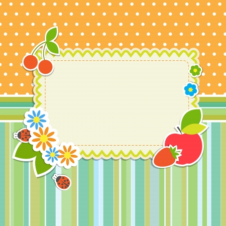 Frame with flowers and fruitsのイラスト素材