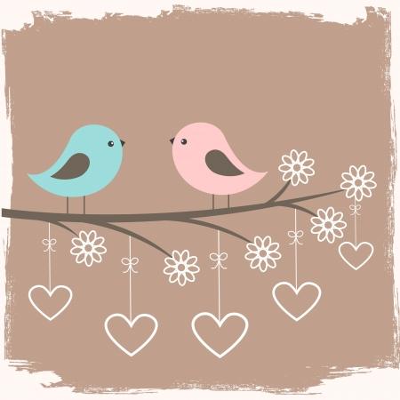Ilustración de Couple of cute birds. Card for Valentine day in retro style - Imagen libre de derechos