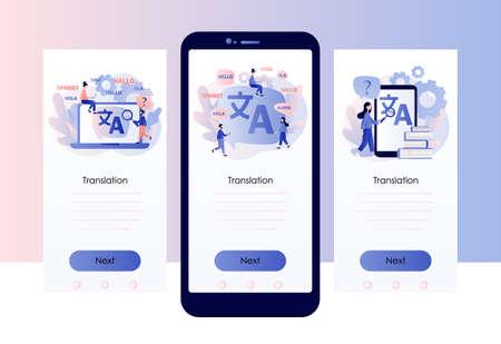 Illustration pour Translation concept. Online translator. Screen template for mobile smart phone. Modern flat cartoon style. Vector illustration - image libre de droit
