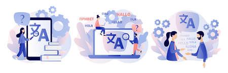 Illustration pour Translation concept. Online translator. Modern flat cartoon style. Vector illustration on white background - image libre de droit
