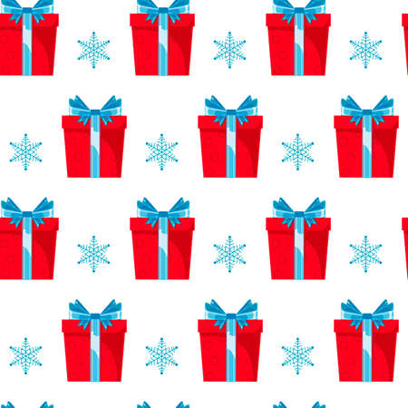 Illustration pour Seamless pattern red gift boxes with blue ribbon and bow on white background. Christmas, surprise, anniversary concept for wrapping, wallpaper, backdrop. - image libre de droit