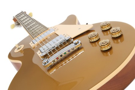 Electric guitar (Gibson Les Paul gold top),  isolated on white.
