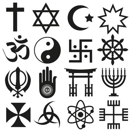 Illustration pour world religions symbols vector set of icons - image libre de droit
