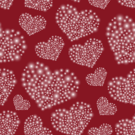 hearts from little lights red seamless pattern