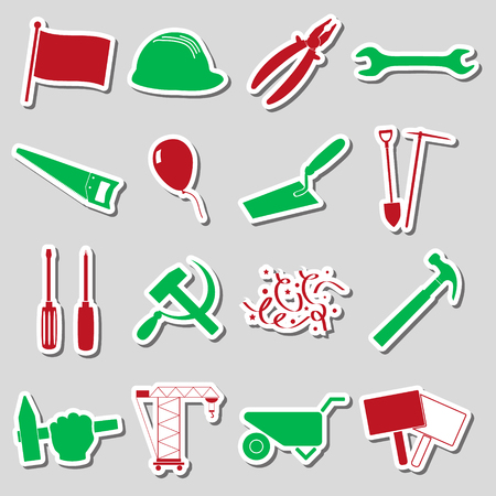 international worker day or labor day theme set of stickers eps10