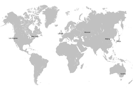 World Map In Grey