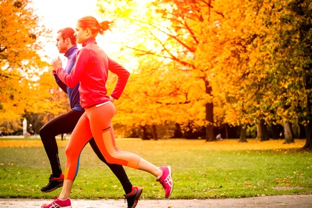Running together - friends jogging together in park, rear view