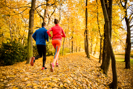 Photo pour Running together - young couple jogging in autumn park, rear view - image libre de droit