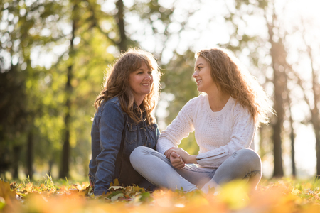 Photo for Mother and teenage daughter outdoor portrait - Royalty Free Image