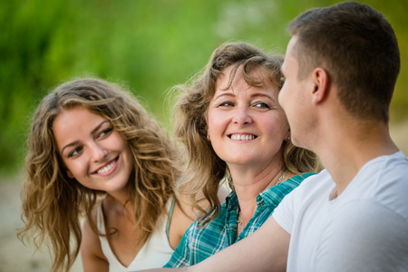 Photo for Beauty nature scene with family outdoor lifestyle. - Royalty Free Image
