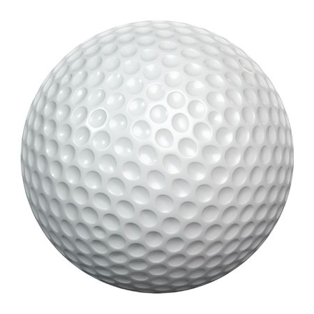 A white golf ball isolated on white background