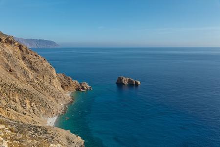 Beautiful seascape view of the sea and rocky shore, the Aegean Sea, Amorgos Island, Greece