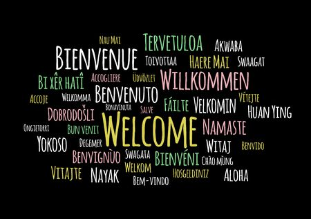 Welcome In Different Languages Word Cloud Vector On Black Background Tasmeemme Com