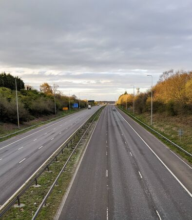 Photo for a deserted motorway with hardly any vehicles at all - Royalty Free Image