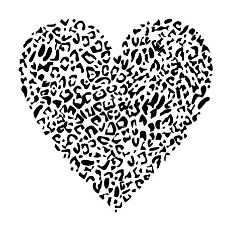 Design for a shirt of a leopard print heart vector art