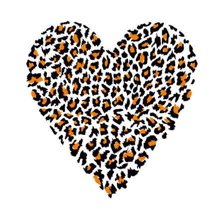 Ilustración de T-shirt design with vector illustration of a animal print heart isolated on white - Imagen libre de derechos