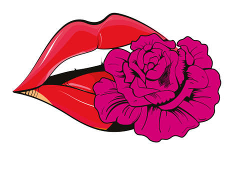 Ilustración de Vector illustration of red lips with a flower isolated on white. Sensual design for t-shirts. - Imagen libre de derechos