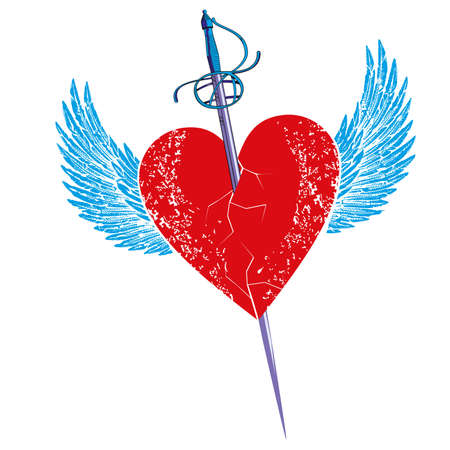 Ilustración de Vector illustration of a sword stuck in a winged heart isolated on white. Romantic drawing for Valentine's day t-shirts and posters. - Imagen libre de derechos