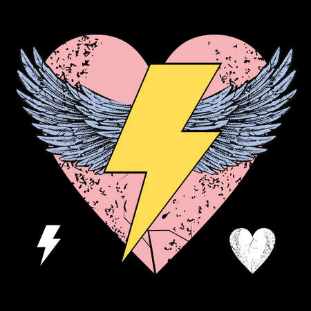 Ilustración de Vector illustration of the symbol of the lightning with wings on a pink heart. Design for t-shirts or posters. - Imagen libre de derechos