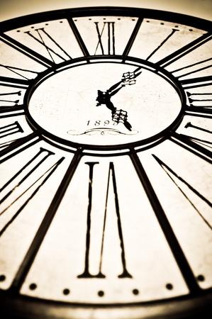 Old antique clock closeup