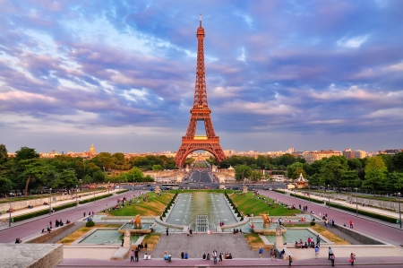 Eiffel tower at cloudy sunset