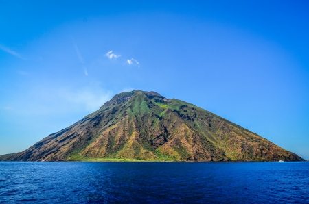 Stromboli volcanic island in Lipari, viewed from the ocean, Sicily, Italy
