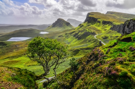 Scenic view of Quiraing mountains in Isle of Skye, Scottish highlands, United Kingdom
