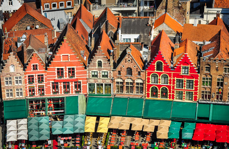 Aerial view of colorful square and houses in Bruges, Belgium