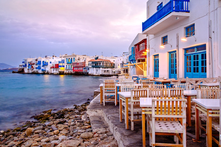 Photo for Beautiful sunrise at Little Venice on Mykonos island, Cyclades, Greece - Royalty Free Image