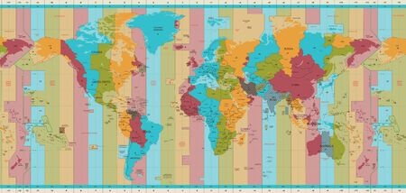 Detailed World map standard time zones:: tasmeemME.com