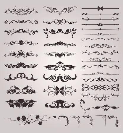 Illustration pour set of vintage monograms and borders decorative elements - image libre de droit