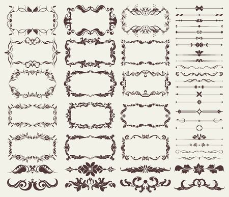 Illustration pour set of decorative elements for borders, frames, dividers, for design blank for design - image libre de droit