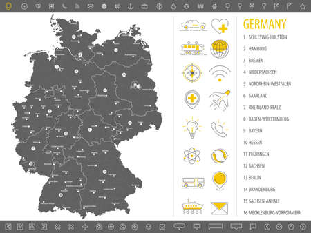 Detailed monochrome map of Germany, gray territory of the country with geographical borders and administrative divisions on white background, set of travel icons, vector illustration