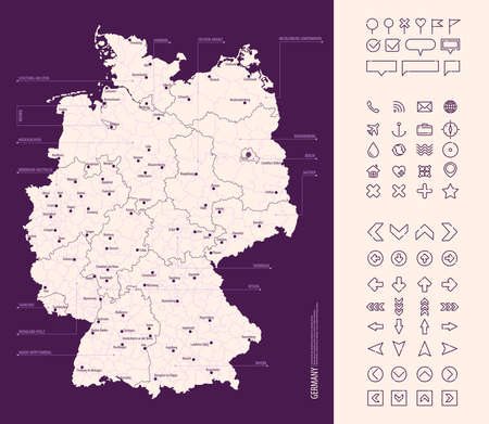 Detailed map of Germany with administrative divisions on a dark background, big cities of the country and icons set, vector illustration