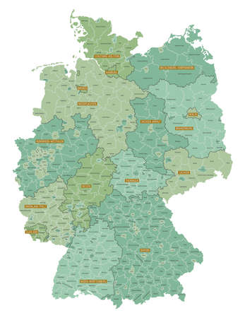 Detailed map of federal states of Germany with administrative divisions into lands and regions of the country, vector illustration on a white background