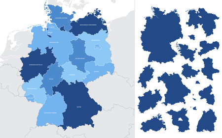 Detailed vector blue map of Germany with administrative divisions into lands and regions of the country