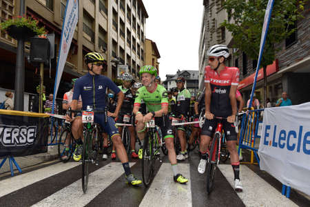 Sant Julia de Loria, Andorra : Agust 6 2017 : Cyclists on the start in La Purito 2017 in Andorra. Amateur race in Andorra.