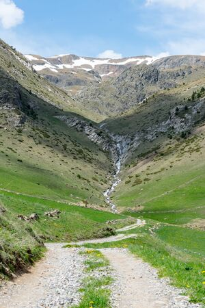 Montaup river in Canillo, Andorra in spring.