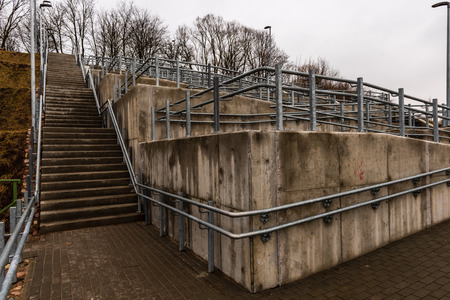 Photo pour metal pedestrian bridge details in city of Bauska, Latvia. abstract texture and lines in cloudy spring day - image libre de droit