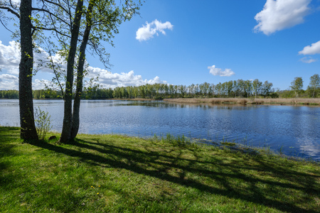 Photo pour recreation camping area by the blue lake in sunny summer day on the shore of water body with trees, green meadow with dandelions and boats on the shore - image libre de droit