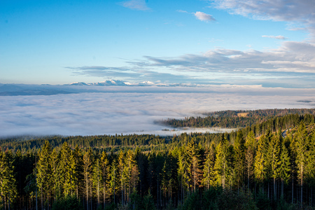 Photo for dramatic clouds over tatra mountains in slovakia. summer landscape with mist - Royalty Free Image
