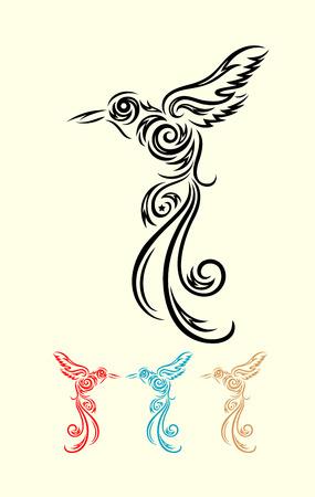 Humming bird flying, art vector decoration