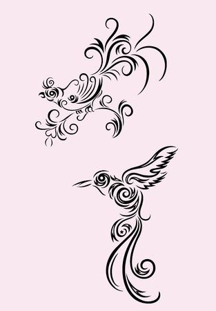 Bird floral set, art vector decoration