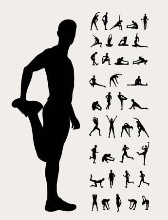 Illustration pour Stretching Silhouettes, art design - image libre de droit