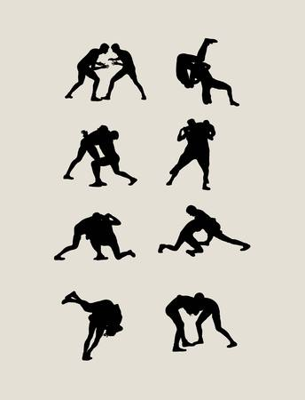 Wrestling Silhouettes, art vector design